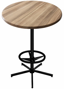 "42"" Black Table with 30"" or 36"" Diameter Indoor/Outdoor Natural Top by Holland Bar Stool Company"