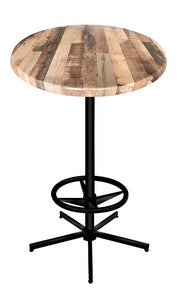 "42"" Black Table with 30"" or 36"" Diameter Indoor/Outdoor Rustic Top by Holland Bar Stool Company"