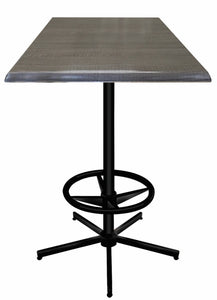 "42"" Black Table with Square Indoor/Outdoor Charcoal Top by Holland Bar Stool Company"
