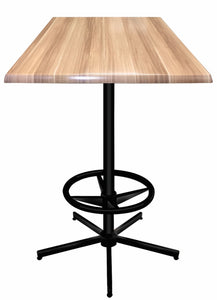 "42"" Black Table with Square Indoor/Outdoor Natural Top by Holland Bar Stool Company"
