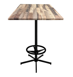 "42"" Black Table with Square Indoor/Outdoor Rustic Top by Holland Bar Stool Company"