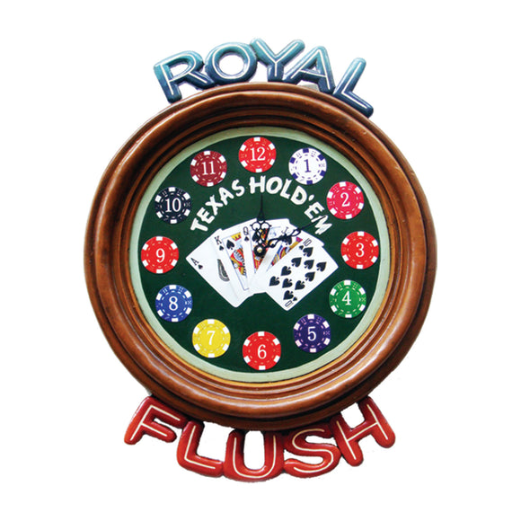 ROYAL FLUSH CLOCK, Wall Signs, RAM Gameroom - The Luxury Man Cave