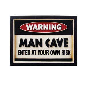 WARNING MAN CAVE, Wall Signs, RAM Gameroom - The Luxury Man Cave
