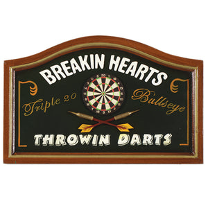 BREAKING HEARTS - THROWING DARTS - WALL SIGN, Wall Signs, RAM Gameroom - The Luxury Man Cave