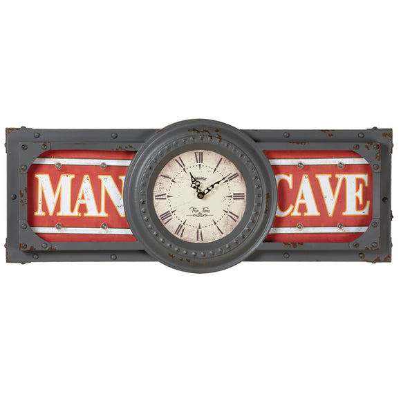 METAL SIGN-MAN CAVE CLOCK, Wall Signs, RAM Gameroom - The Luxury Man Cave