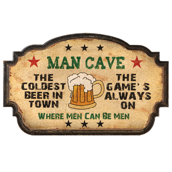 MAN CAVE-COLDEST BEER IN TOWN, Wall Signs, RAM Gameroom - The Luxury Man Cave