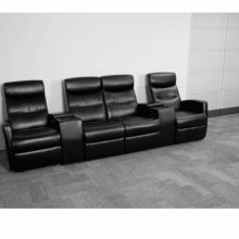Anetos Series 4-Seat Reclining Black Leather Theater Seat w/Cup Holders, Theater Seats, Flash - The Luxury Man Cave