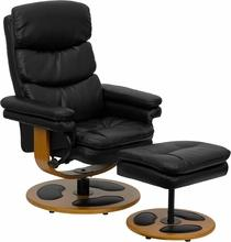 Contemporary Black Leather Recliner And Ottaman w/ Wood Base, Recliner, Flash - The Luxury Man Cave