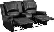 Allure Series 2-Seat Pillow Back Black Reclining Leather Theater Seat w/ Cup Holders, Theater Seats, Flash - The Luxury Man Cave