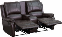 Allure Series 2-Seat Pillow Back Brown Reclining Leather Theater Seat w/ Cup Holders, Theater Seats, Flash - The Luxury Man Cave