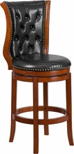 30'' Brandy Wood Barstool w/ Black Leather Swivel Seat, bar Stools, Flash - The Luxury Man Cave