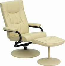 Contemporary Cream Leather Recliner And Ottaman w/ Leather Wrapped Base, Recliner, Flash - The Luxury Man Cave