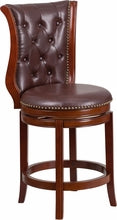 26'' Counter Height Stool w/ Leather Swivel Seat Dark Chestnut Wood, bar Stools, Flash - The Luxury Man Cave