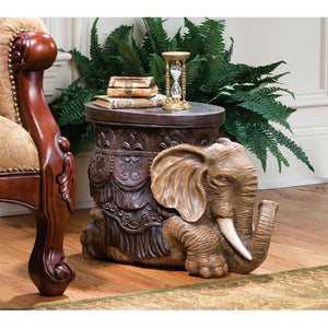 The Sultans Elephant Sculptural Side Table by Design Toscano, End Tables, Design Toscano - The Luxury Man Cave