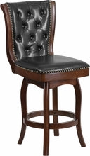 26''Cappuccino Wood Counter Height Stool w/ Black Leather Swivel Seat, bar Stools, Flash - The Luxury Man Cave