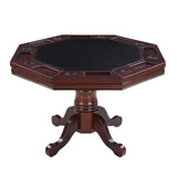 Kingston Walnut 3-in-1 Poker Table w/ 4 Arm Chairs by Hathaway, Poker Tables, Carmelli - The Luxury Man Cave