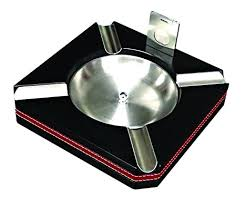 Leather Trim Ashtray With Cutter by Prestige Import Group
