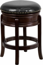 24'' Backless Cappucinno Wood Counter Height Stool w/Black Leather Swivel Seat, bar Stools, Flash - The Luxury Man Cave