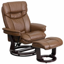 Contemporary Palimino Leather Recliner And Ottaman w/ Swivel Mahogany Wood Base, Recliner, Flash - The Luxury Man Cave
