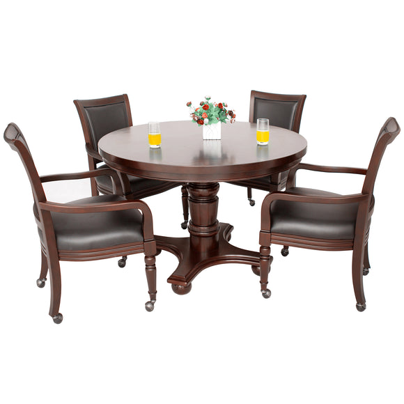 Bridgeport 2-in-1 Poker Game Table Set - Walnut Finish by Carmelli, Poker Tables, Carmelli - The Luxury Man Cave