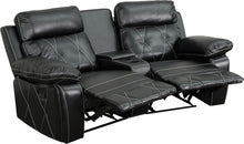 Reel Comfort Series 2-Seat Reclining Black Leather Theater Seat Curved w/Cup Holders, Theater Seats, Flash - The Luxury Man Cave