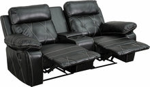 Reel Comfort Series 2-Seat Reclining Black Leather Theater Seat Straight w/Cup Holders, Theater Seats, Flash - The Luxury Man Cave