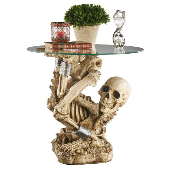The Contortionist Skeleton Side Table by Design Toscano, End Tables, Design Toscano - The Luxury Man Cave