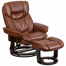 Contemporary Brown Vintage Leather Recliner And Ottaman w/ Swivel Mahogany Wood Base, Recliner, Flash - The Luxury Man Cave