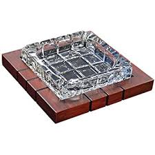 Wood & Crystal Cross-Hatched Ashtray by Prestige Import Group