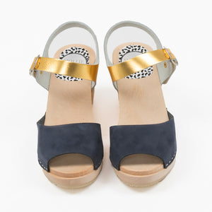 Navy and gold sandal