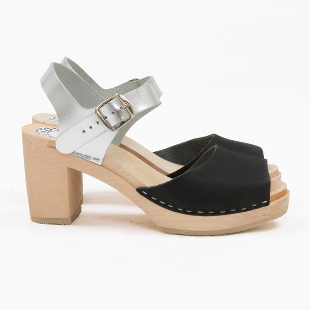 Black and silver sandal