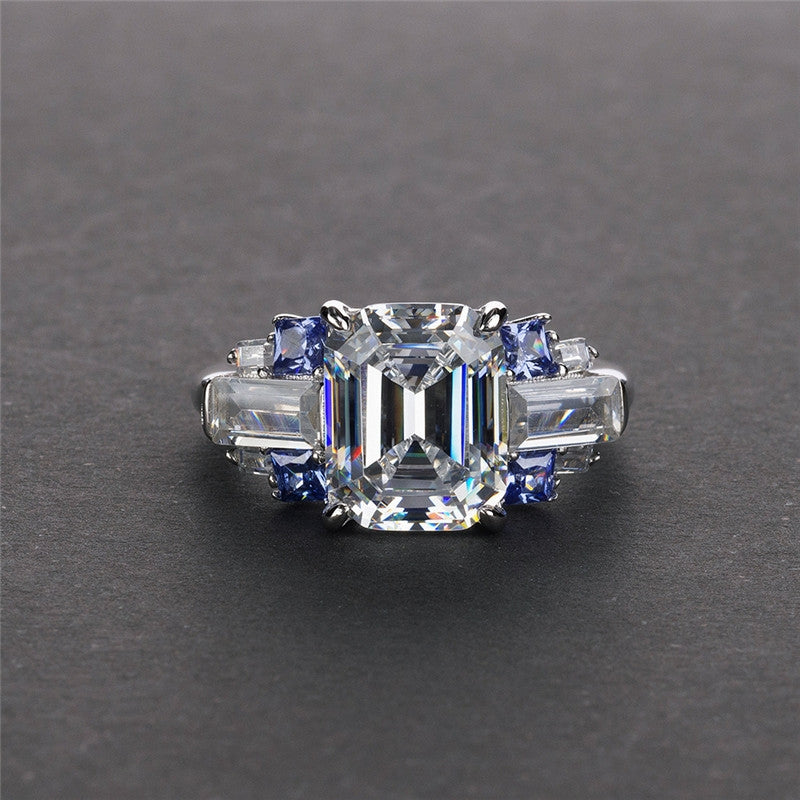 Emerald Cut Created Diamond Three Stone Ring