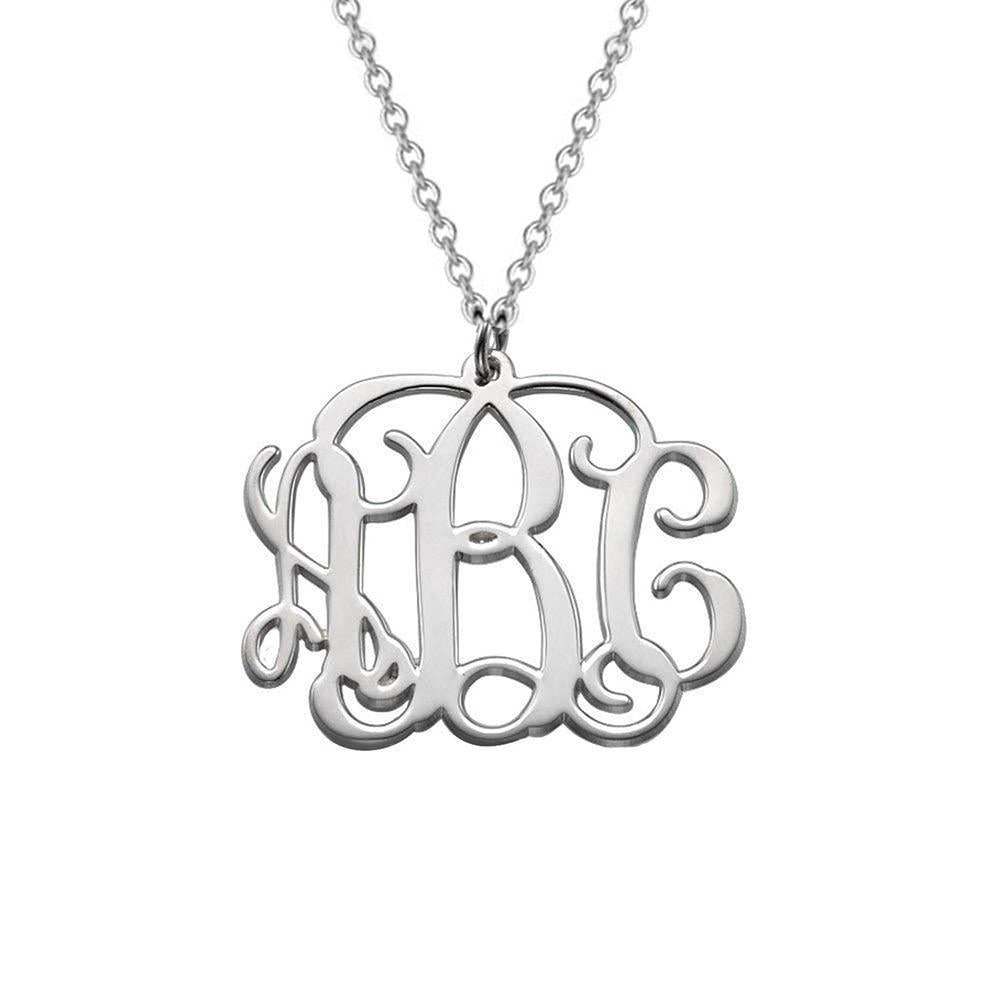 18k Rose Gold 3 Initial Monogram Necklace with Adjustable Chain