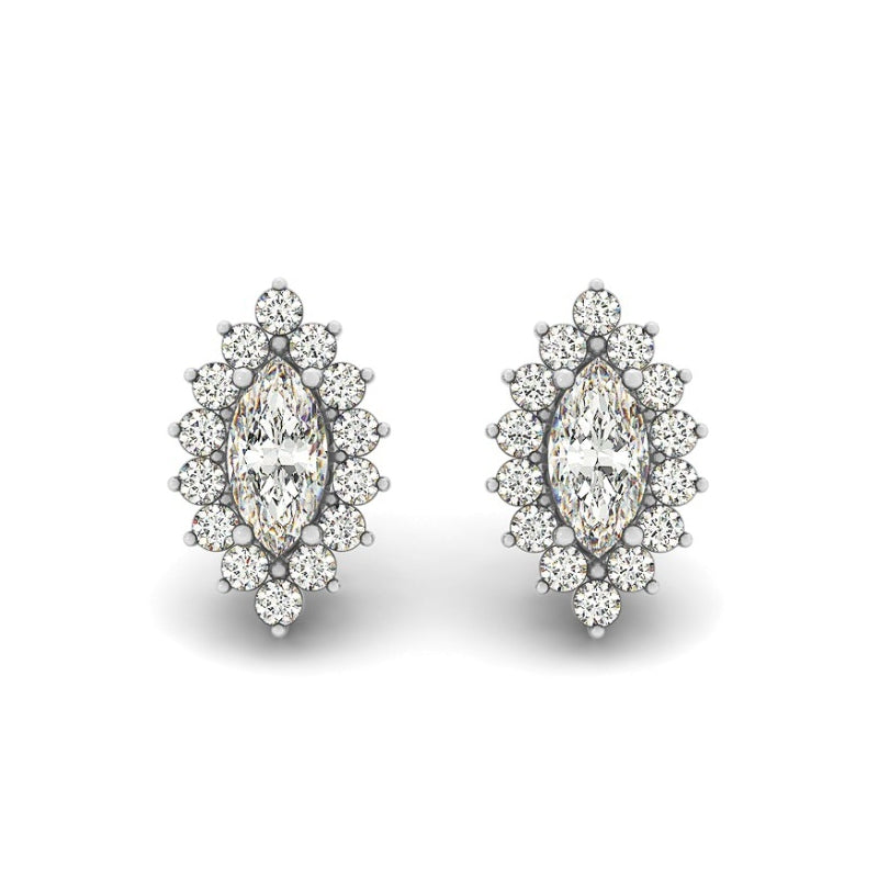 Floral Design Marquise Created White Diamond Stud Earrings