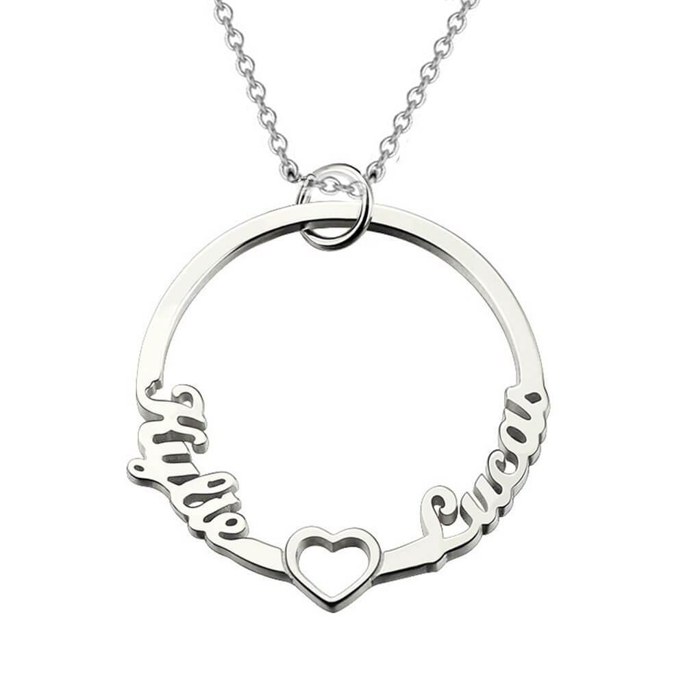 Sterling Silver Circle Two Name Necklace with heart