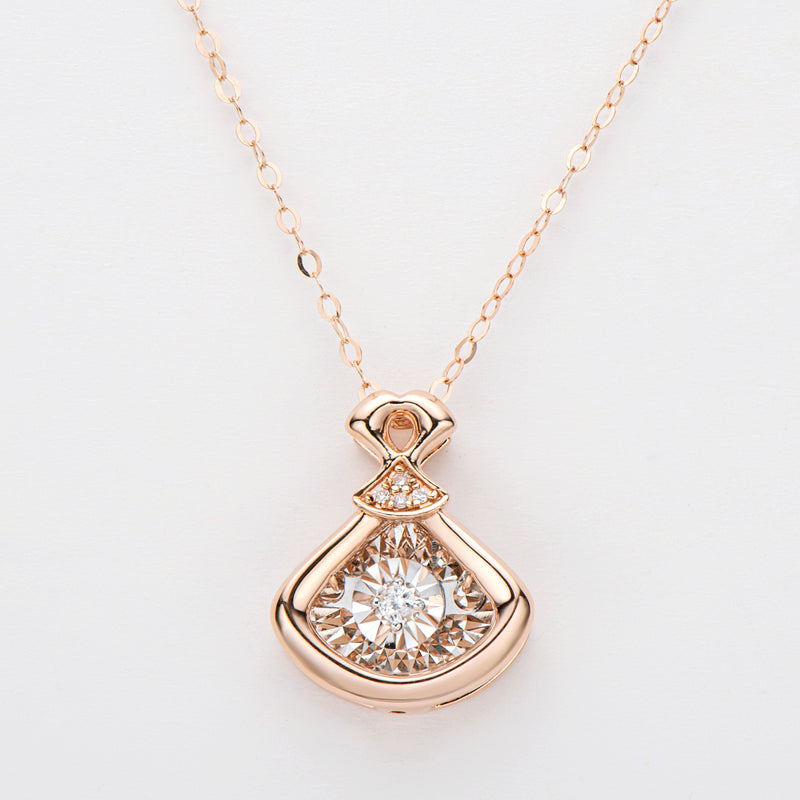 18K Rose Gold 0.028ct Real Diamond Fashion Dancing Pendant Necklace