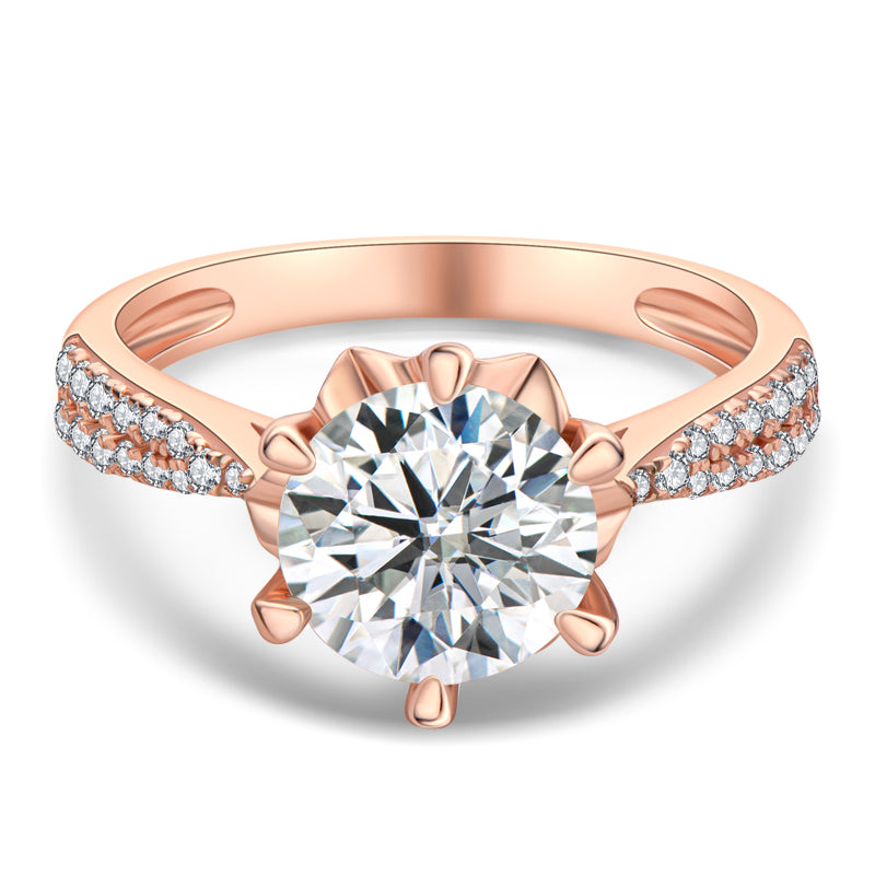 Rose Gold Round Cut Moissanite Diamond Ring