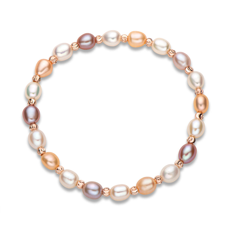Multicolor Cultured Freshwater Pearl Stretch Bracelets