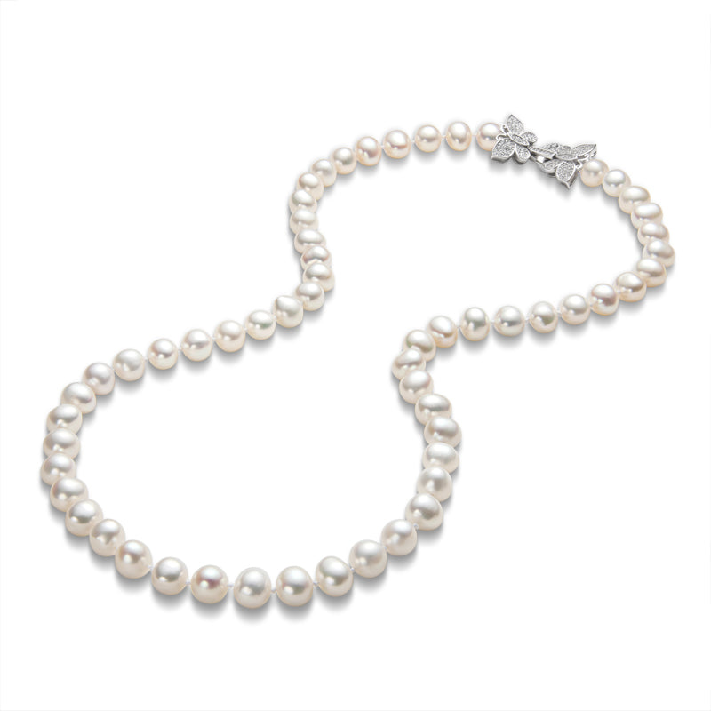 Freshwater Cultured White Pearl Necklace Butterfly Buckle