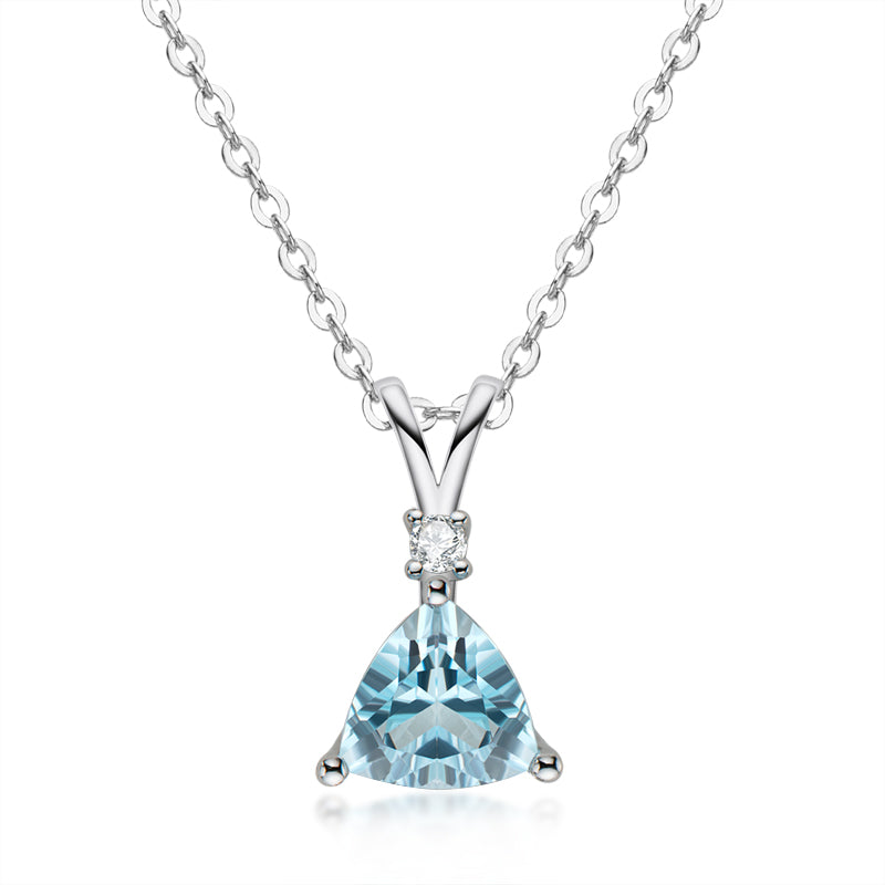 1.5ct Trillion Cut Natural Blue Topaz Gemstone Pendant Necklace