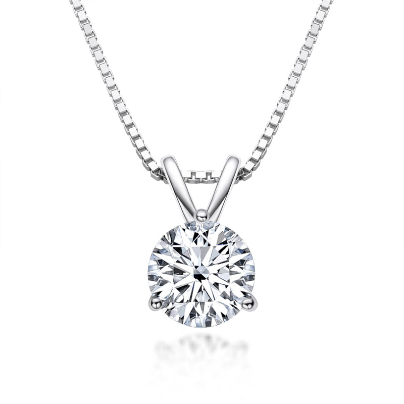Round Created White Diamond Pendant Necklace