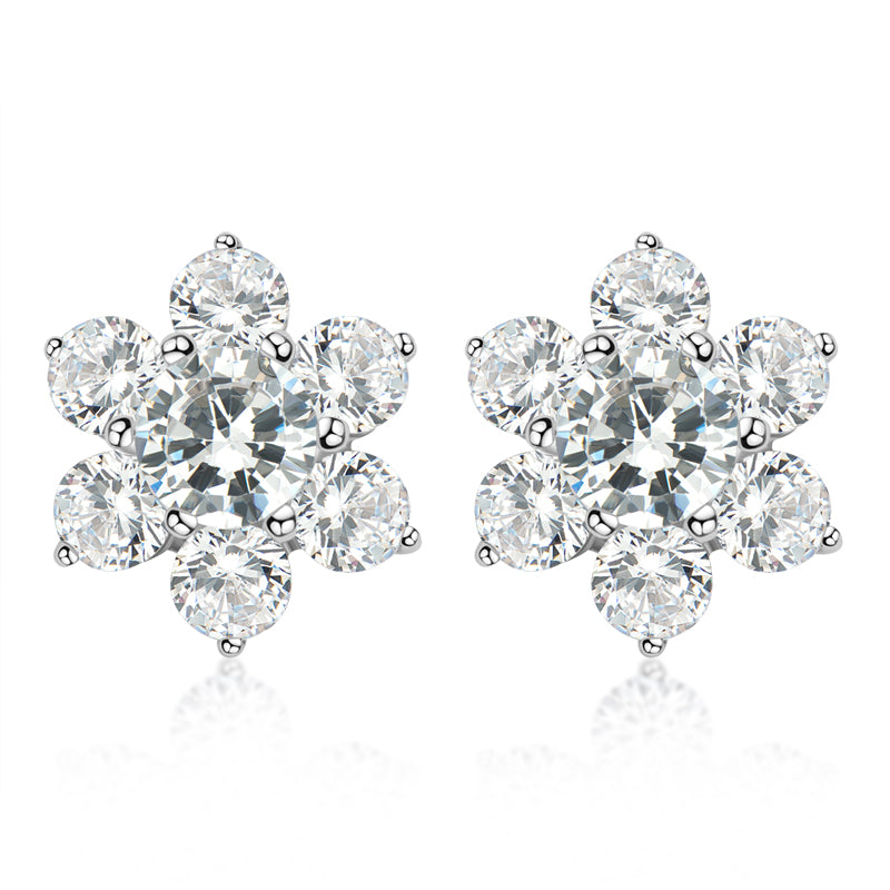 Snowflake Design Created White Diamond Stud Earrings