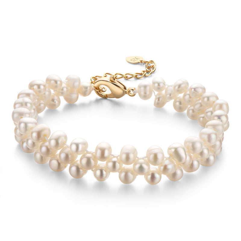 Natural Cultured Freshwater Pearl Double Strand Bracelet