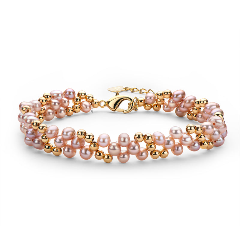 14K Gold Filled Pink/Purple Natural Freshwater Pearl Bracelet
