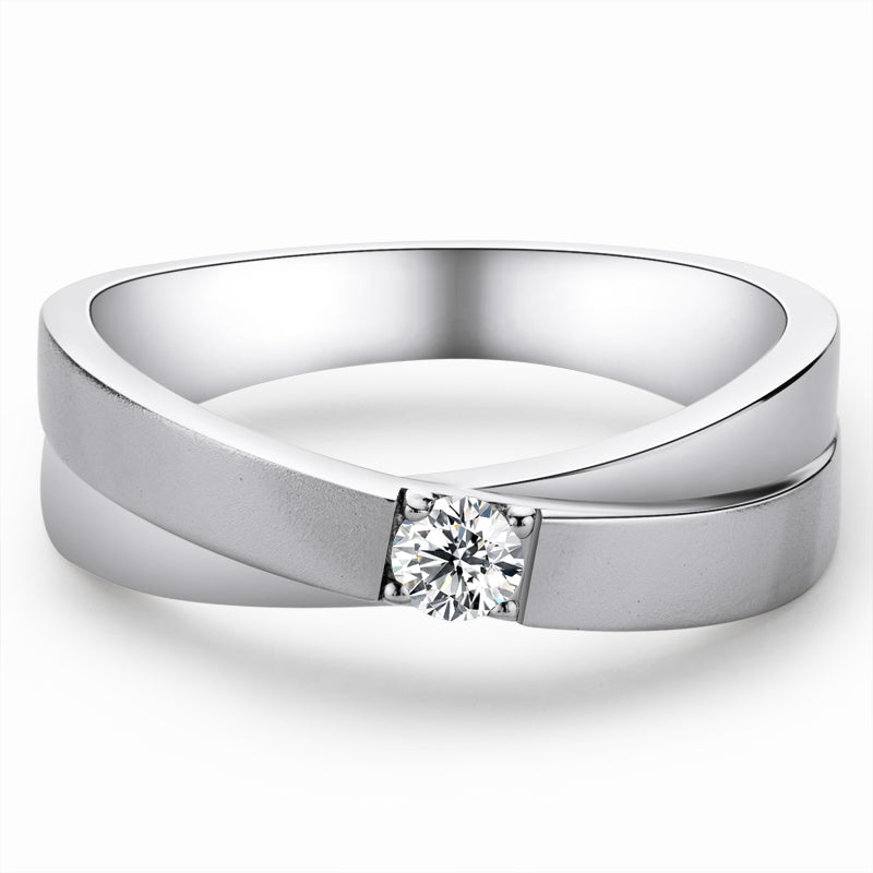 Round Cut Moissanite Diamond Male Ring