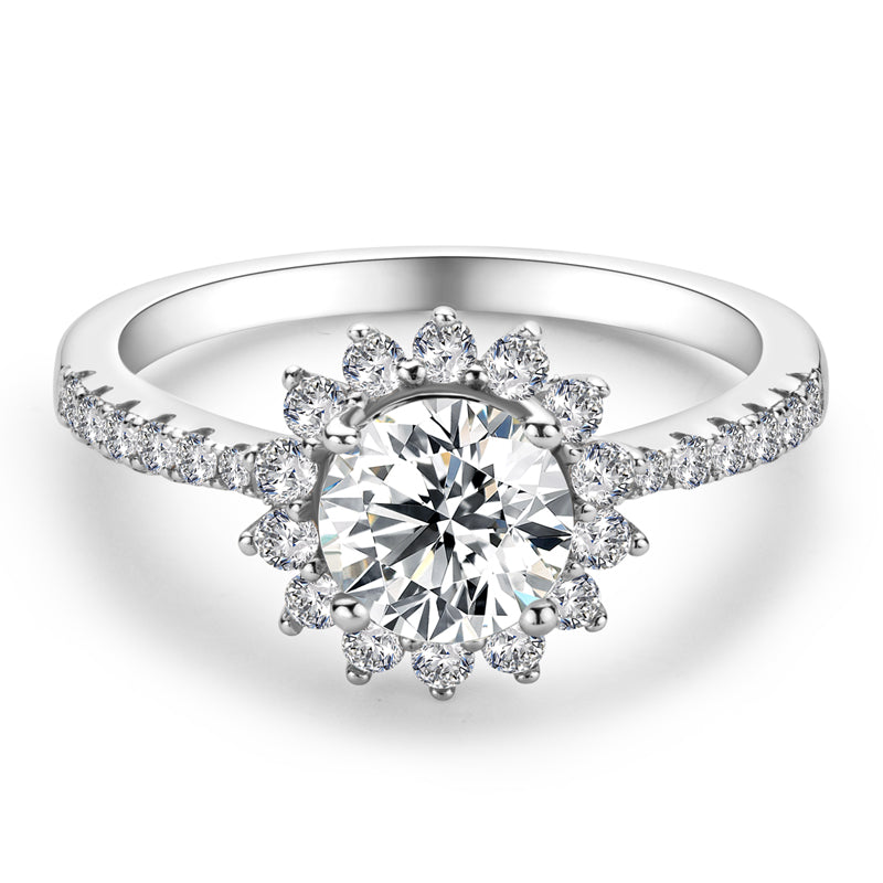 Sunflower Shape Round Cut Moissanite Diamond Halo Ring