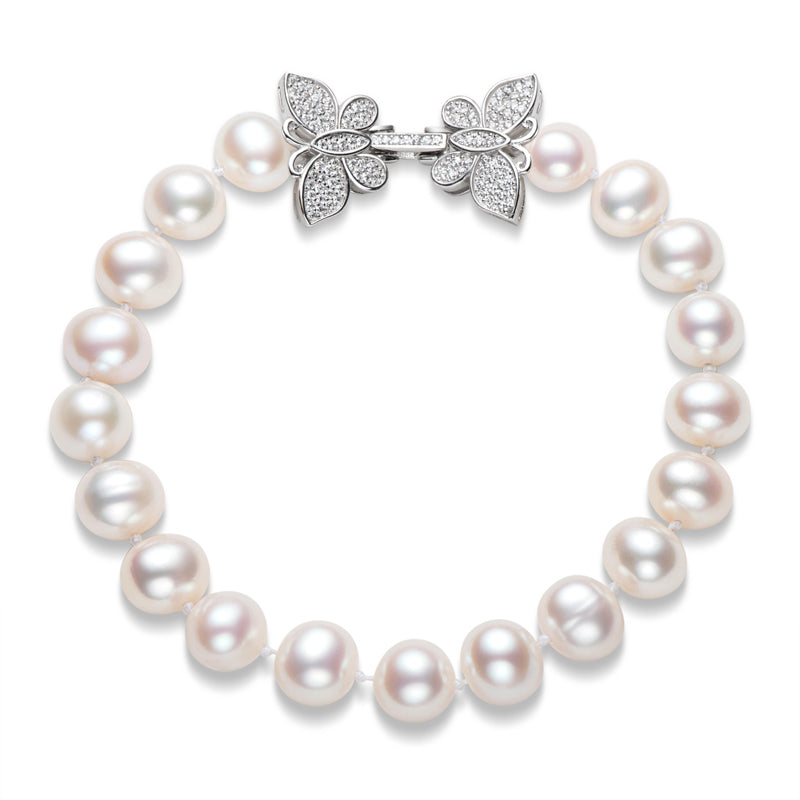 High Luster Cultured White Freshwater Pearl Butterfly Bracelet