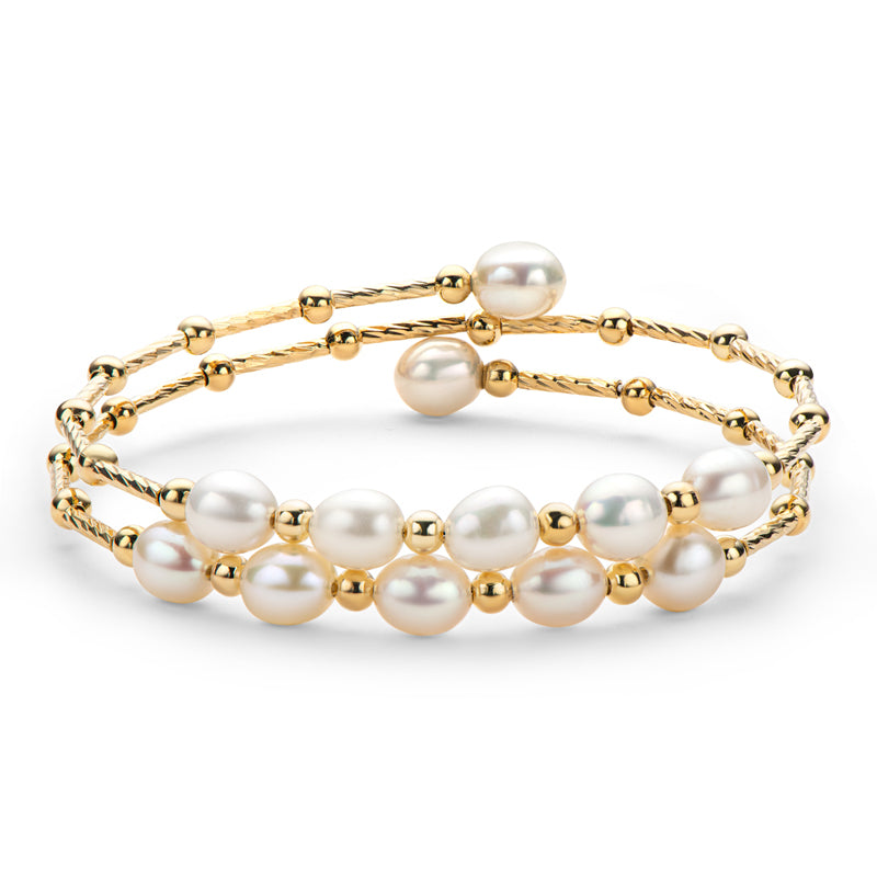 14K Gold Filled Yellow Gold Natural White Freshwater Pearl Bangle