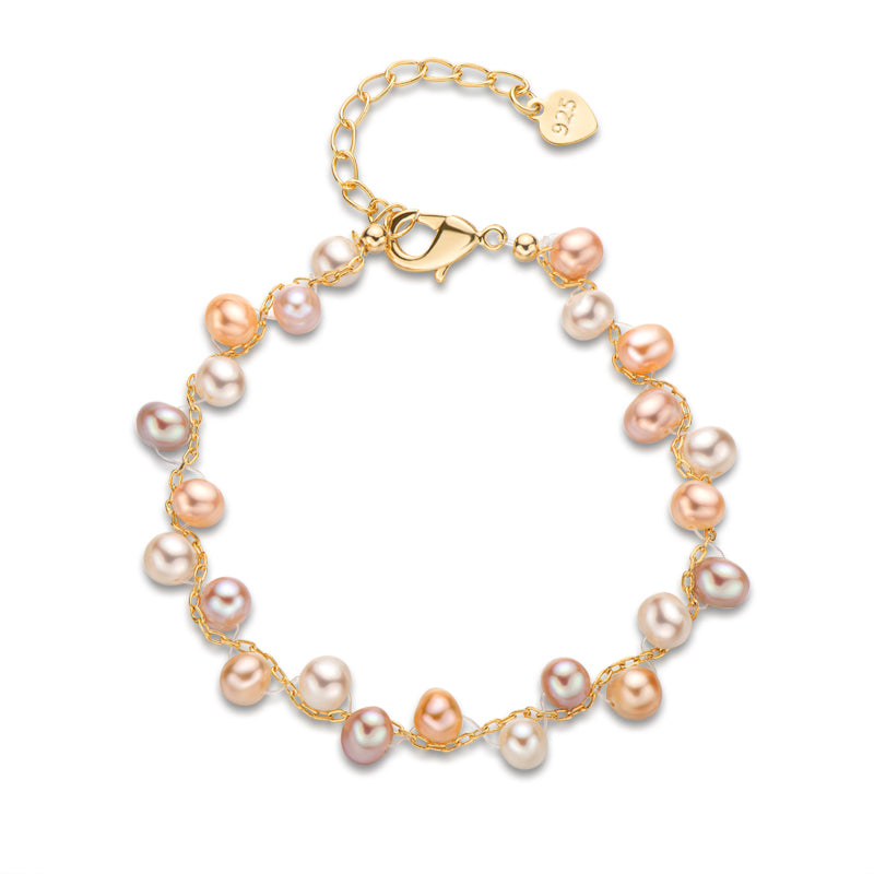 Natural Cultured Freshwater Pearl Interlace Bracelet