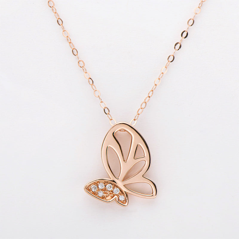 18K Rose Gold 0.030ct White Diamond Butterfly Animal Pendant Necklace